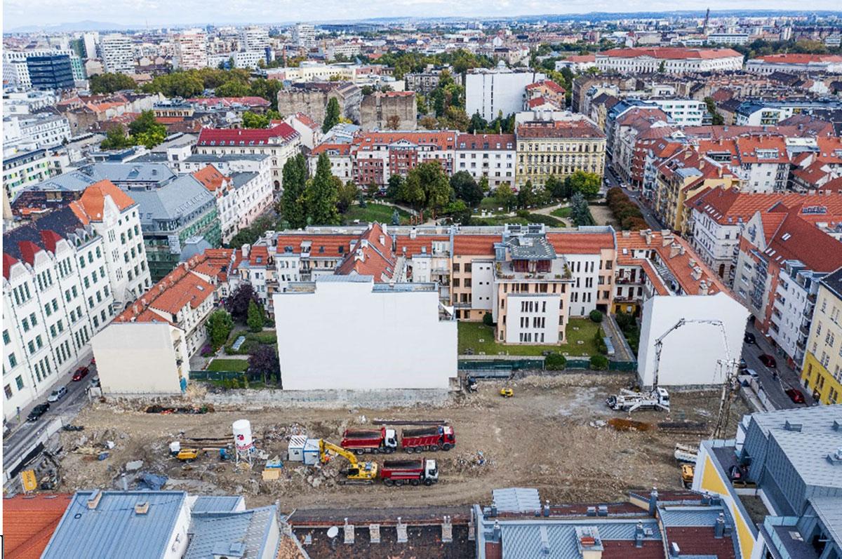 """תצלום רחפן של פרוייקט נדל""""ן בבודפשט"""